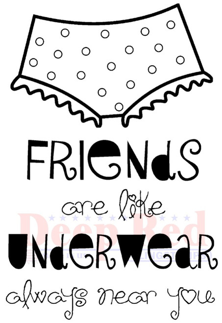 Friends and Underwear Rubber Cling Stamp
