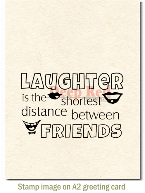 Laughter Between Friends Rubber Cling Stamp by Deep Red Stamps shown on A2 card