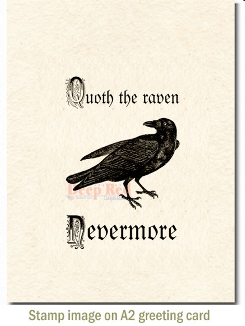 Quoth the Raven Rubber Cling Stamp by Deep Red Stamps shown on A2 card