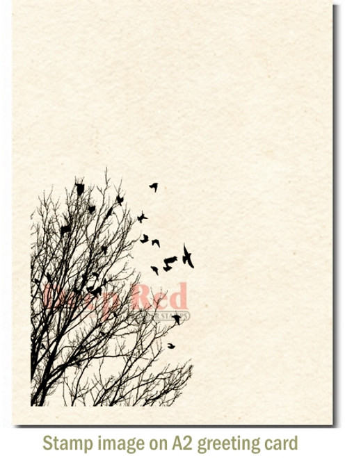 Raven Flock Rubber Cling Stamp by Deep Red Stamps shown on A2 card