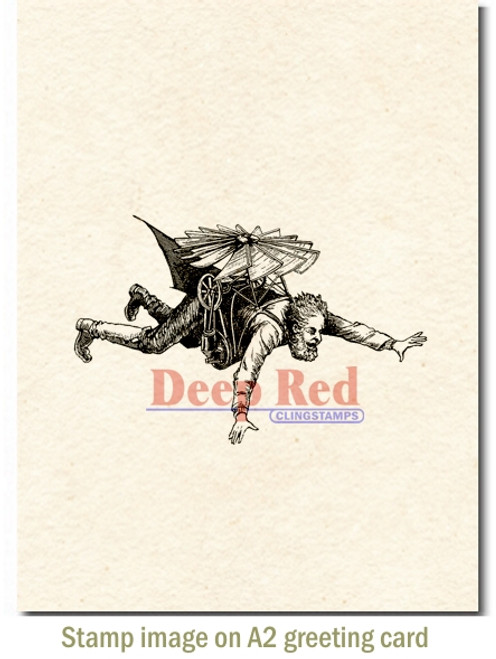 Flying Man Rubber Cling Stamp by Deep Red Stamps shown on A2 card