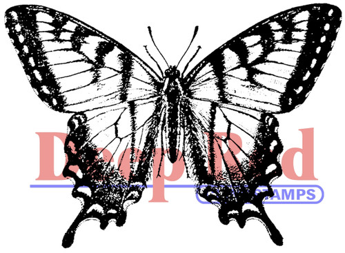 Swallowtail Butterfly Rubber Cling Stamp by Deep Red Stamps