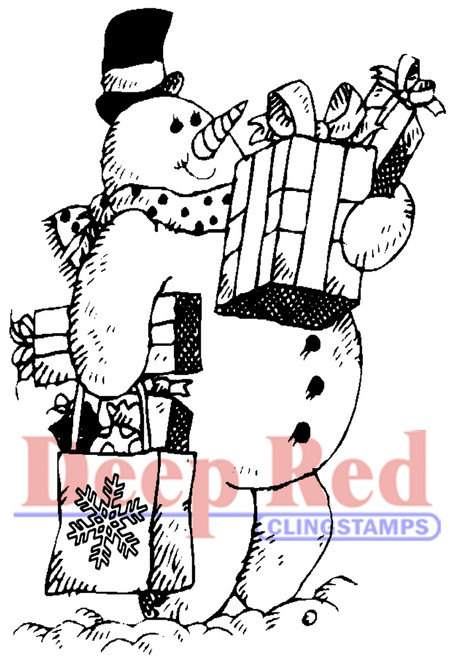 Frosty Shopper Rubber Cling Stamp by Deep Red Stamps