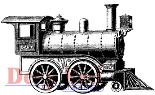 Locomotive Rubber Cling Stamp by Deep Red Stamps