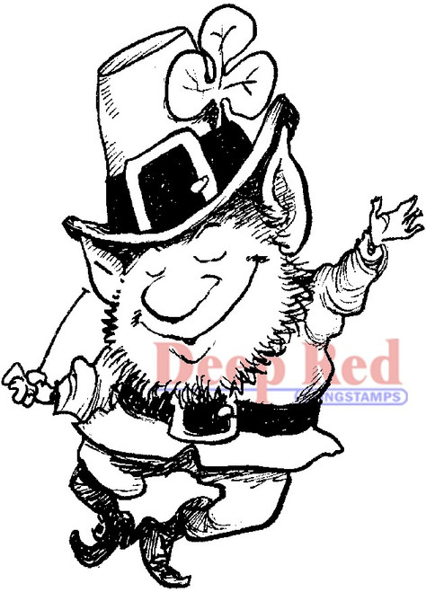 Lucky Leprechaun Rubber Cling Stamp by Deep Red Stamps