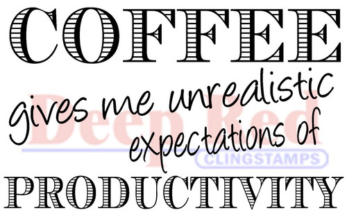 Coffee Productivity Rubber Cling Stamp by Deep Red Stamps
