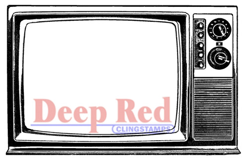 Classic TV Rubber Cling Stamp by Deep Red Stamps