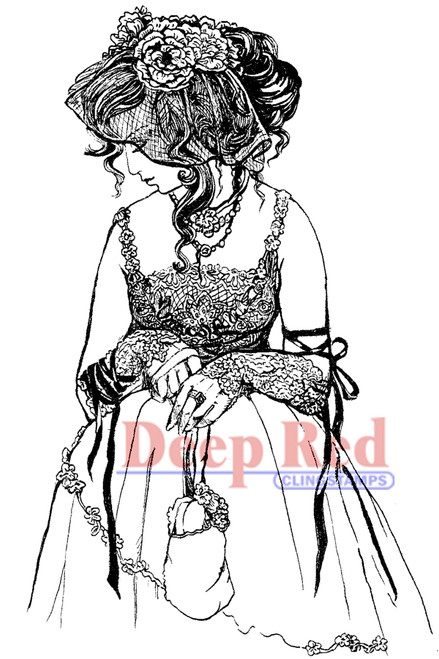 Lady in Lace Rubber Cling Stamp by Deep Red Stamps