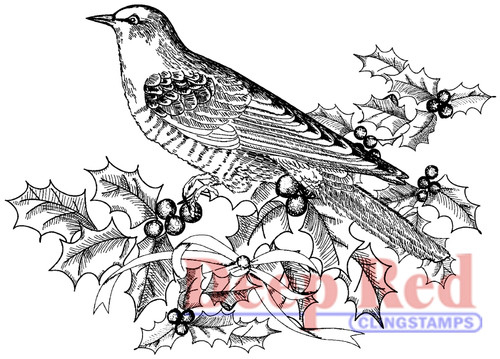 Bird and Holly Rubber Cling Stamp by Deep Red Stamps