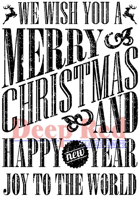 Grungy Christmas Wishes Rubber Cling Stamp by Deep Red Stamps