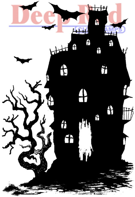 Haunted House Rubber Cling Stamp by Deep Red Stamps