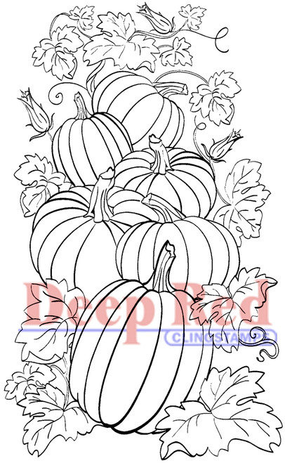Pumpkin Patch Rubber Cling Stamp by Deep Red Stamps