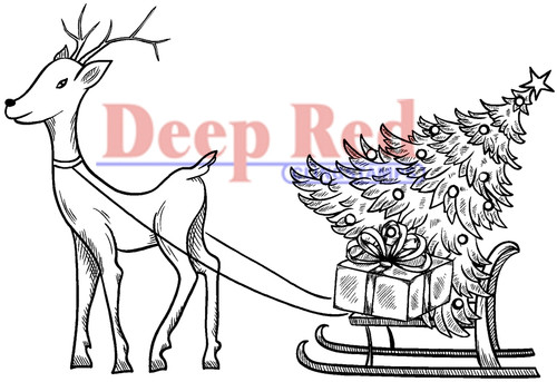 Reindeer with Gifts Rubber Cling Stamp by Deep Red Stamps