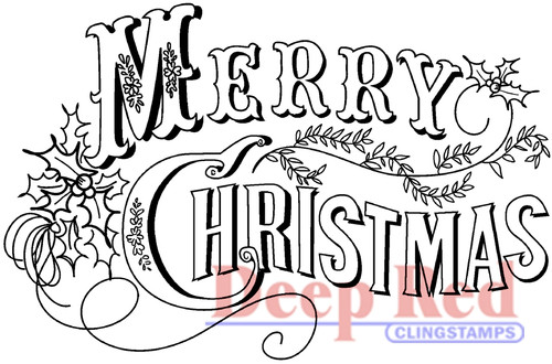 Vintage Merry Christmas Rubber Cling Stamp by Deep Red Stamps