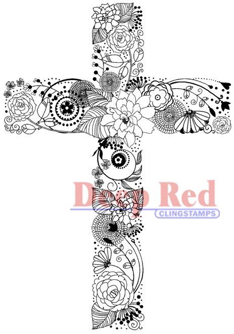 Floral Cross Rubber Cling Stamp by Deep Red Stamps