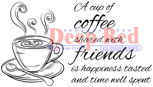 Coffee with Friends Rubber Cling Stamp by Deep Red Stamps