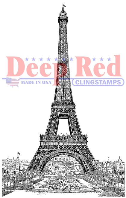 Vintage Paris Eiffel Tower Rubber Cling Stamp by Deep Red Stamps