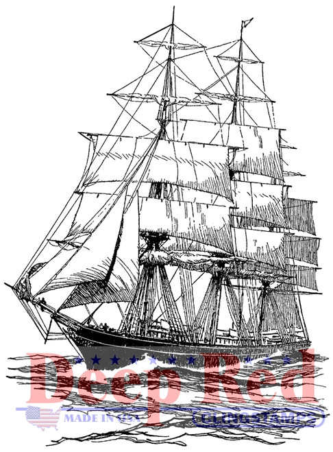 Clipper Ship Rubber Cling Stamp by Deep Red Stamps