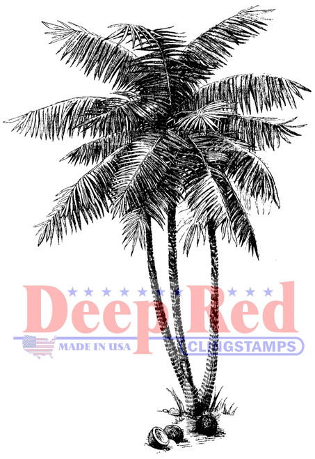 Coconut Palms Rubber Cling Stamp by Deep Red Stamps