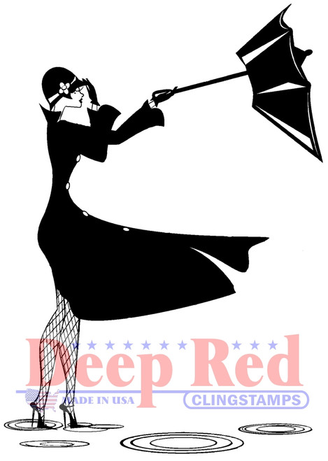 Retro Umbrella Girl Rubber Cling Stamp by Deep Red Stamps