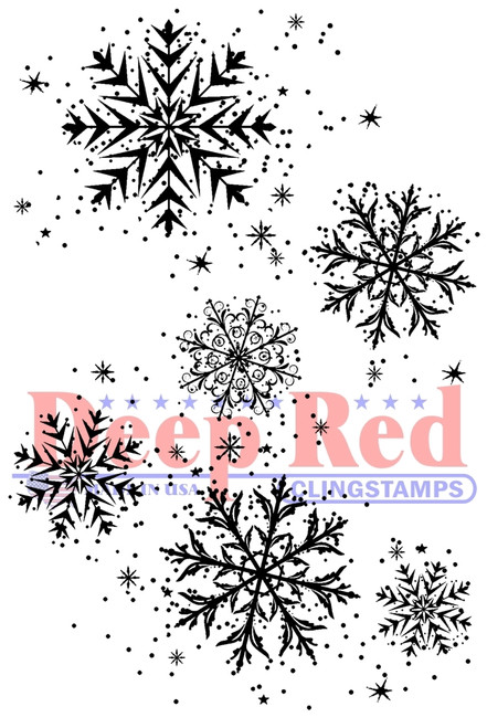 Snowflake Background Rubber Cling Stamp by Deep Red Stamps