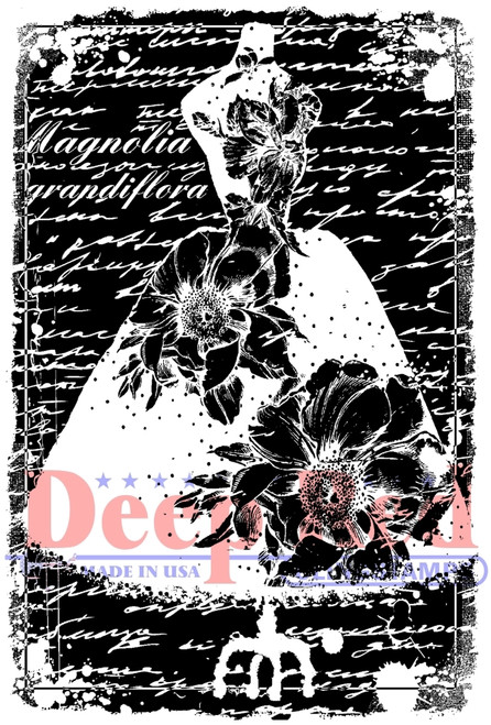 Magnolia Dress Form Rubber Cling Stamp by Deep Red Stamps