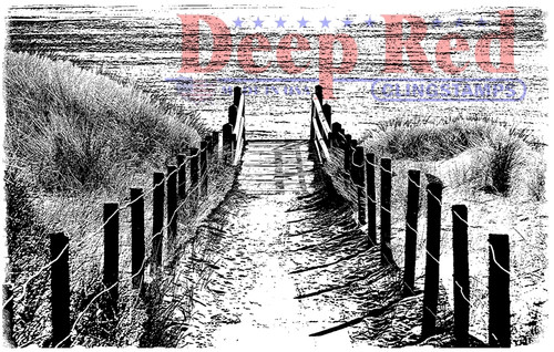Beach Walk Rubber Cling Stamp by Deep Red StampS