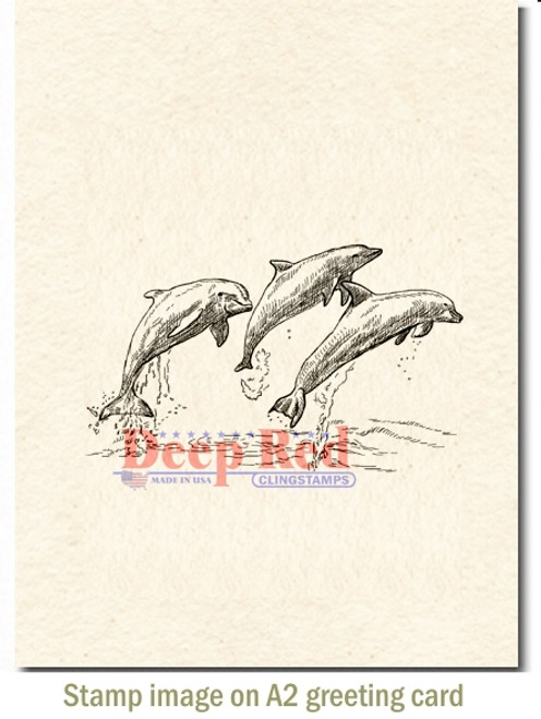 Deep Red Stamps Dolphins Cling Stamp 3 by 2 Deep Red