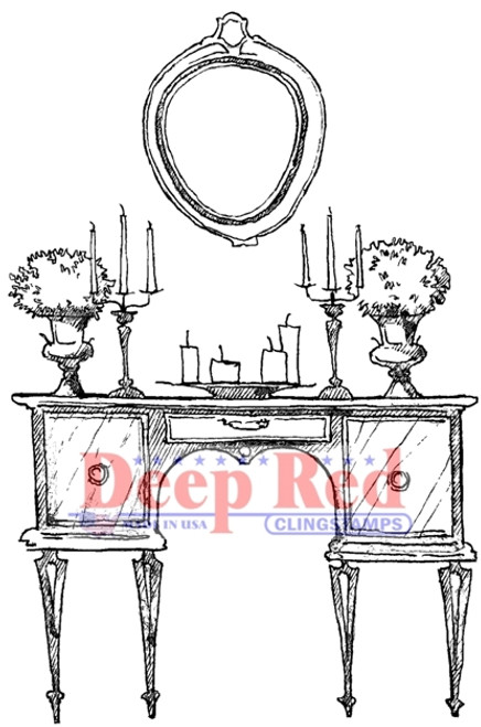 Antique Dressing Table Rubber Cling Stamp by Deep Red Stamps