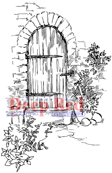 Garden Doorway Rubber Cling Stamp by Deep Red Stamps