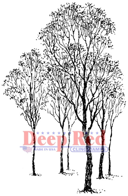 Winter Trees Rubber Cling Stamp by Deep Red Stamps