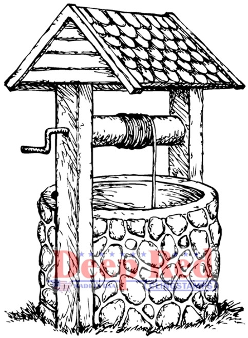 Wishing Well Rubber Cling Stamp by Deep Red Stamps