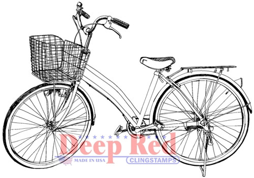 Girls Bicycle Rubber Cling Stamp by Deep Red Stamps