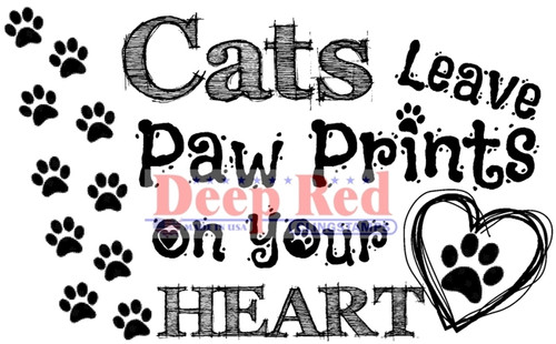 Cat Prints Rubber Cling Stamp by Deep Red Stamps
