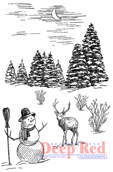 Winter Night Rubber Cling Stamp by Deep Red Stamps