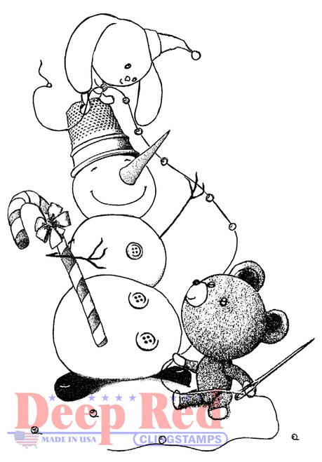 Snowman Garland Rubber Cling Stamp by Deep Red Stamps