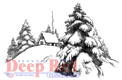 Mountain Cabin Rubber Cling Stamp by Deep Red Stamps