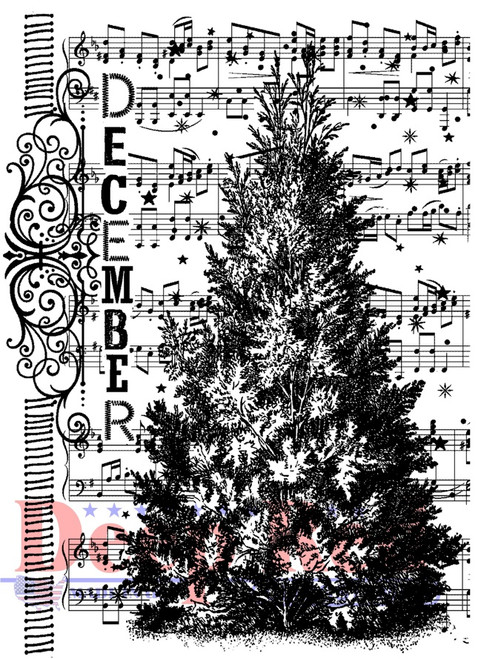 December Tree Rubber Cling Stamp by Deep Red Stamps