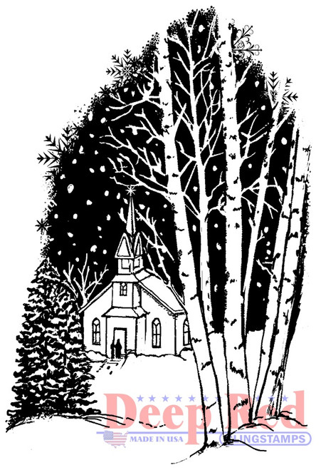 Christmas Eve Rubber Cling Stamp by Deep Red Stamps