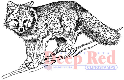 Winter Fox Rubber Cling Stamp by Deep Red Stamps