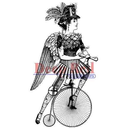 Steampumk Lady Cyclist Rubber Cling Stamp