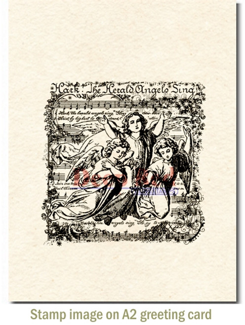 Angels Sing Rubber Cling Stamp by Deep Red Stamps shown on A2 card