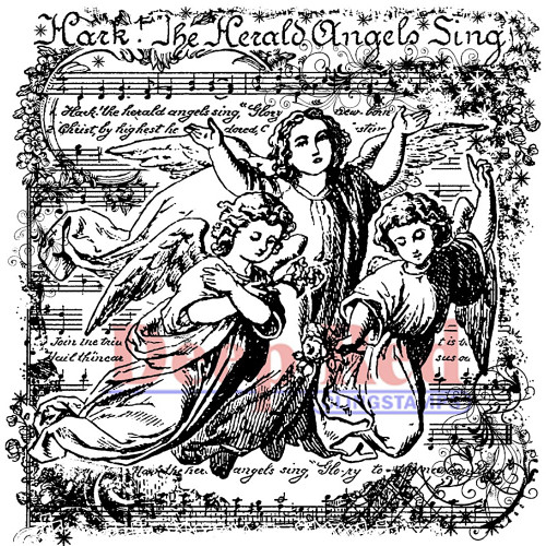 Deep Red Soaring Eagle with Angels Rubber Cling Stamp
