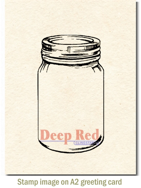 Mason Jar Rubber Cling Stamp by Deep Red Stamps shown on A2 card