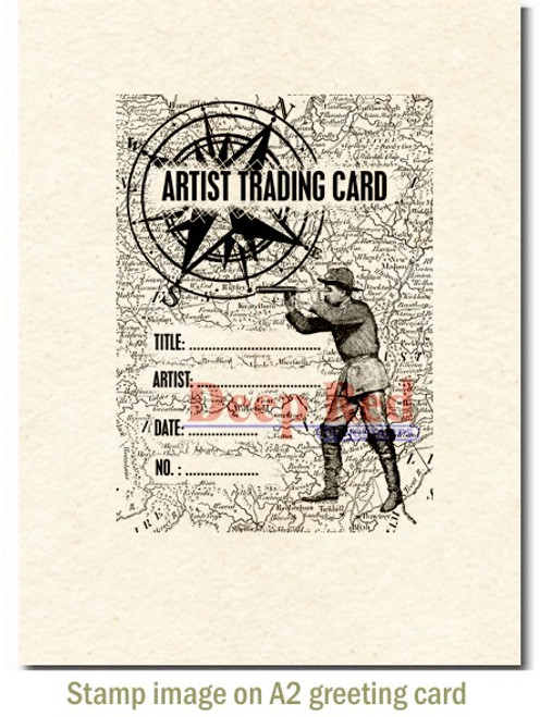 ATC Explorer Rubber Cling Stamp by Deep Red Stamps shown on A2 card