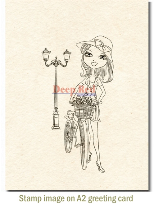 Natalie with Bicycle Rubber Cling Stamp by Deep Red Stamps shown on A2 card