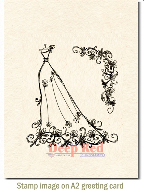 Formal Gown and Floral Corner Rubber Cling Stamp by Deep Red Stamps shown on A2 card