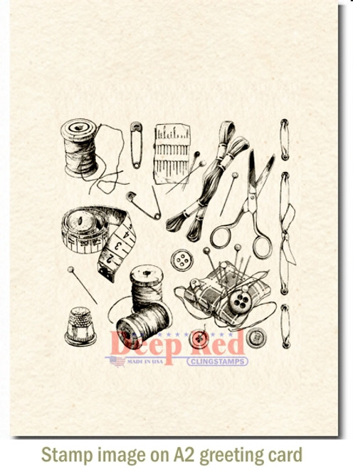Sewing Notions Rubber Cling Stamp by Deep Red Stamps shown on A2 card