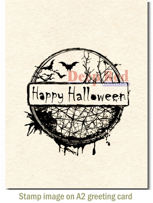 Happy Halloween Rubber Cling Stamp by Deep Red Stamps shown on A2 card