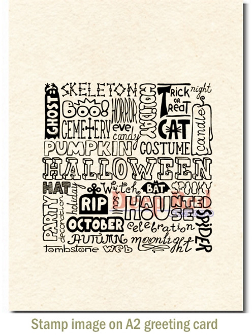 Halloween Background Rubber Cling Stamp by Deep Red Stamps shown on A2 card